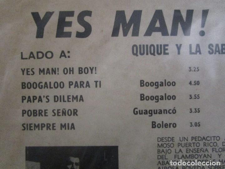 Discos de vinilo: YES MAN OH BOY QUIQUE Y LA SABROSA ORCHESTRA BOOGALOO GUAGUANCO DESCARGA LP T83 G ESCASO - Foto 3 - 76717959