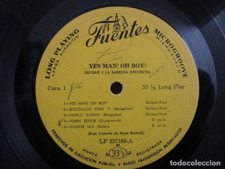 Discos de vinilo: YES MAN OH BOY QUIQUE Y LA SABROSA ORCHESTRA BOOGALOO GUAGUANCO DESCARGA LP T83 G ESCASO - Foto 5 - 76717959
