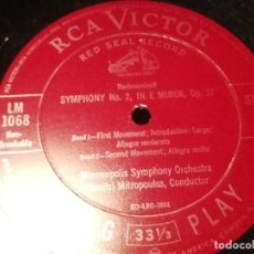 Discos de vinilo: MINNESOTA ORCHESTRA DIMITRI MITROPOULOS. SYMPHONY NO. 2 IN E MINOR, OP. 27 RCA VICTOR.RED SEAL RECOD. Lote 76835939