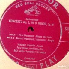 Discos de vinilo: RACHMANINOFF CONCERTO NO. 3 HOROWITZ - PIANO REINER RCA LM 1178 LP . Lote 76850611