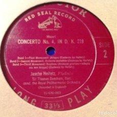 Discos de vinilo: JASCHA HEIFETZ , BEECHAM WAXMAN - BACH / MOZART VIOLIN CONCERTO RCA LM 1051 LP. Lote 76852627