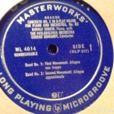 Discos de vinilo: BRAHMS RUDOLF SERKIN, THE PHILADELPHIA ORCHESTRA, EUGENE ORMANDY. COLUMBIA ML 4014. Lote 76853499