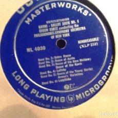 Discos de vinilo: KHACHATURIAN NEW YORK PHILHARMONIC SYMPHONY ORCHESTRA EFREM KURTZ ?SABRE DANCE GAYNE SUITES LM 4030. Lote 76854987