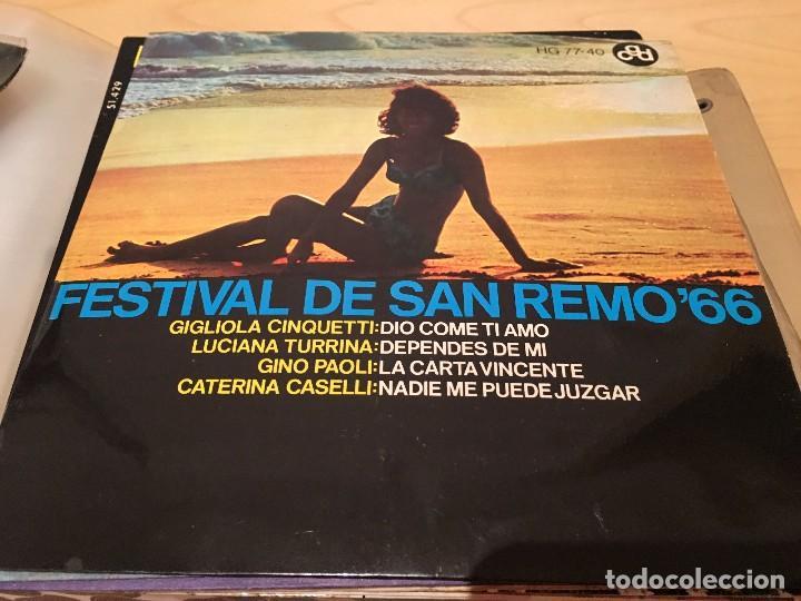 RA110 DISCO SINGLE FESTIVAL DE SAN REMO´66, EP, GIGLIOLA CINQUETTI - DIO COME TI AMO + 3, AÑO 1966 (Música - Discos de Vinilo - EPs - Otros Festivales de la Canción)