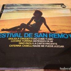 Discos de vinilo: RA110 DISCO SINGLE FESTIVAL DE SAN REMO´66, EP, GIGLIOLA CINQUETTI - DIO COME TI AMO + 3, AÑO 1966. Lote 76889703