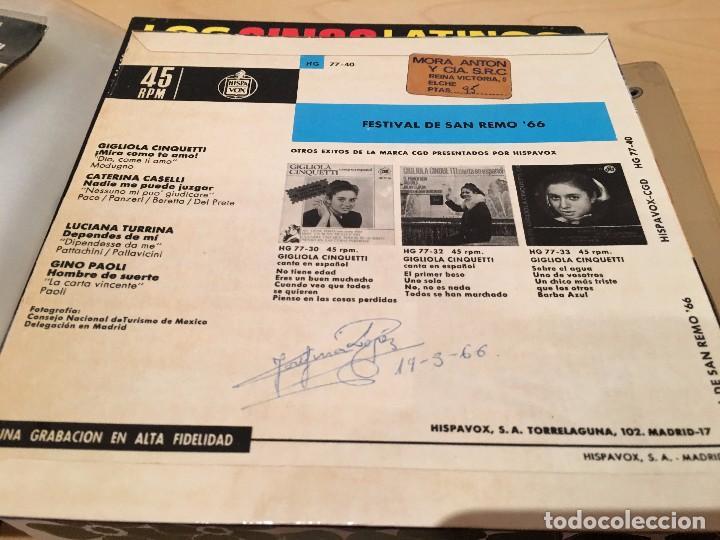 Discos de vinilo: RA110 DISCO SINGLE FESTIVAL DE SAN REMO´66, EP, GIGLIOLA CINQUETTI - DIO COME TI AMO + 3, AÑO 1966 - Foto 2 - 76889703