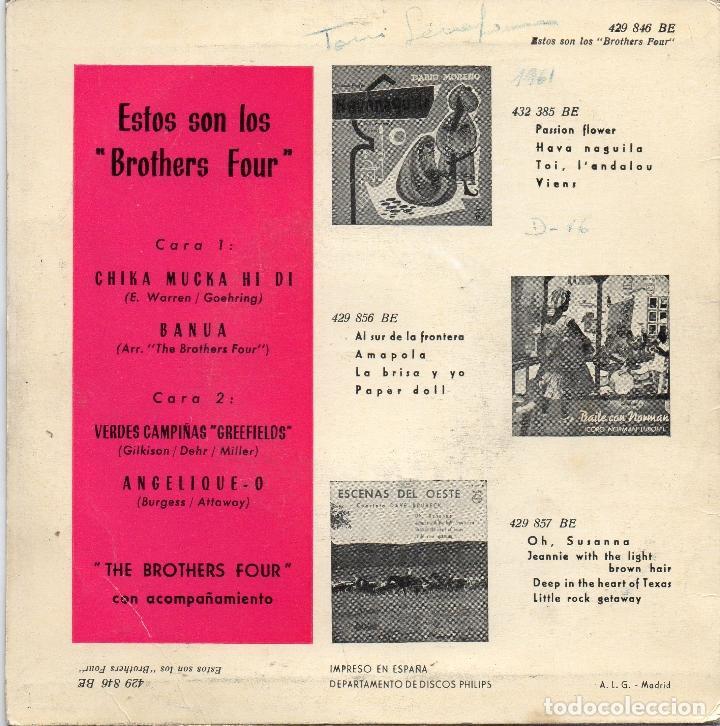 Discos de vinilo: BROTHERS FOUR - CHIKA MUCKA HI DI BANUA - EP - Foto 2 - 77116069