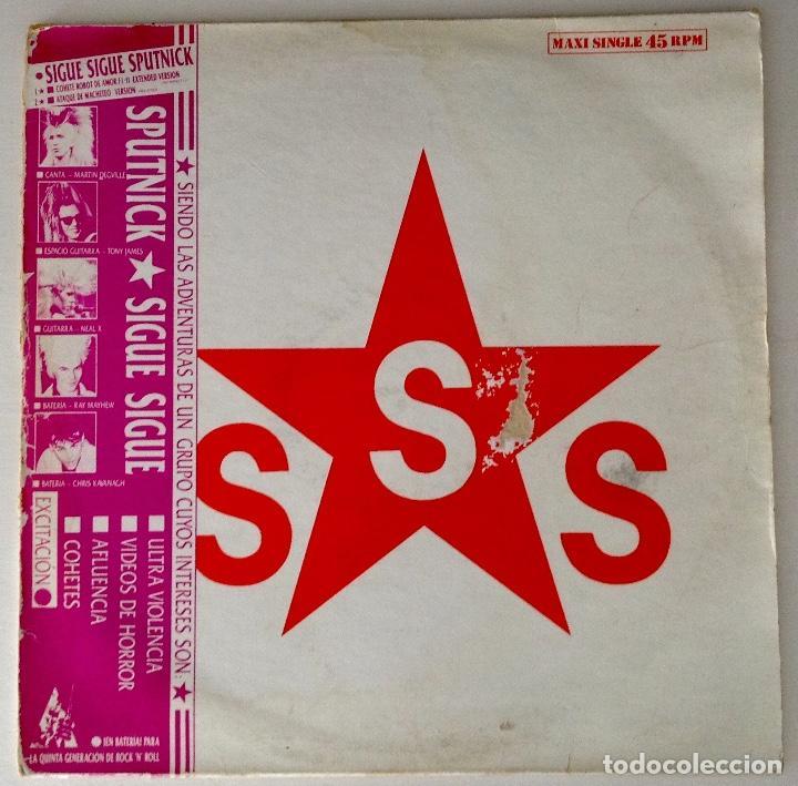 SIGUE SIGUE SPUTNICK MX CARPETA EN ESPAÑOL COHETE ROBOT DE AMOR (Música - Discos de Vinilo - Maxi Singles - Pop - Rock Extranjero de los 90 a la actualidad)