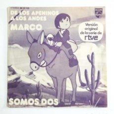 Discos de vinilo: MARCO – DE LOS APENINOS A LOS ANDES / SOMOS DOS – VERSIÓN ORIGINAL DE LA SERIE RTVE. Lote 77288365