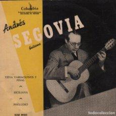 Discos de vinilo: ANDRES SEGOVIA,SICILIANA. PRELUDIO,TEMA VARIACIONES Y FINAL - EP COLUMBIA RF-1829, BUEN ESTADO. Lote 77296073