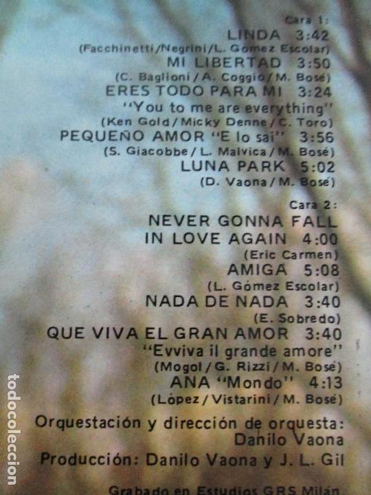 Discos de vinilo: DISCOS DE VINILO. MIGUEL BOSE. SIETE ALBUNES. VER FOTOGRAFIAS ADJUNTAS - Foto 31 - 77469013