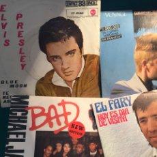 Discos de vinilo: DISCO SINGLE: LOTE ELVIS PRESLEY, EL FARY, MICHAEL JACKSON Y DESIRELESS. Lote 77543331