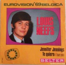 Discos de vinilo: LOUIS NEEFS, JENNIFER JENNINGS. SINGLE EUROVISIÓN 1969, BÉLGICA. Lote 77714621