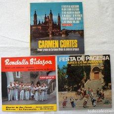 Discos de vinilo: LOTE 3 SINGLES. RONDALLA BIDASOA. FESTA DE PAGESIA. CARMEN CORTES.. Lote 77740357