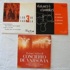 Discos de vinilo: LOTE 3 SINGLES. CONCIERTO DE VARSOVIA. VIOLINES ESPAÑOLES. LOS 3 DE CASTILLA.. Lote 77740601