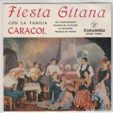 Discos de vinilo: FIESTA GITANA CON LA FAMILIA CARACOL / LOS CAMPANILLEROS + 3 (EP 1960) CONSERVA EL TRIANGULO. Lote 77755157