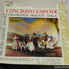 Discos de vinilo: LP. CONCIERTO ESPAÑOL. GRANADOS, MALATS, FALLA. ORQUESTA MARAVELLA. MADRID. Lote 77956673