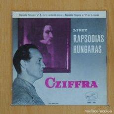 Discos de vinilo: CZIFFRA - LISZT - RAPSODIA HUNGARA N 8 / N 11 - SINGLE. Lote 78052426