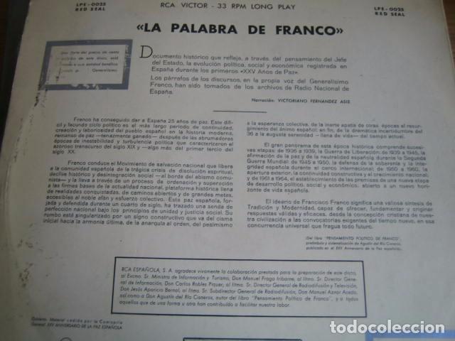 Discos de vinilo: 25 AÑOS DE PAZ - LA PALABRA DE FRANCO - SUPER RARO LP RCA 1964 - Foto 2 - 78102329