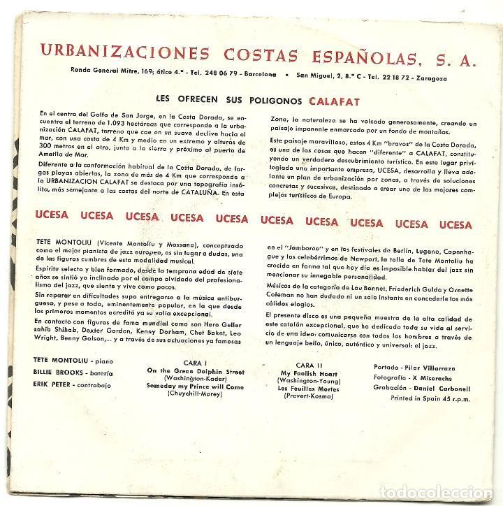Discos de vinilo: TETE MONTOLIU TRIO. Calafat (On the green dolphin street....) (vinilo ep 1966) - Foto 3 - 78156149