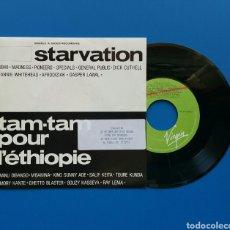 Discos de vinilo: STARVATION - TAM-TAM POUR L´ETHIOPIE (SALIF KEITA, UB40, MADNESS... - SINGLE VINILO - VIRGIN 1985. Lote 78334221