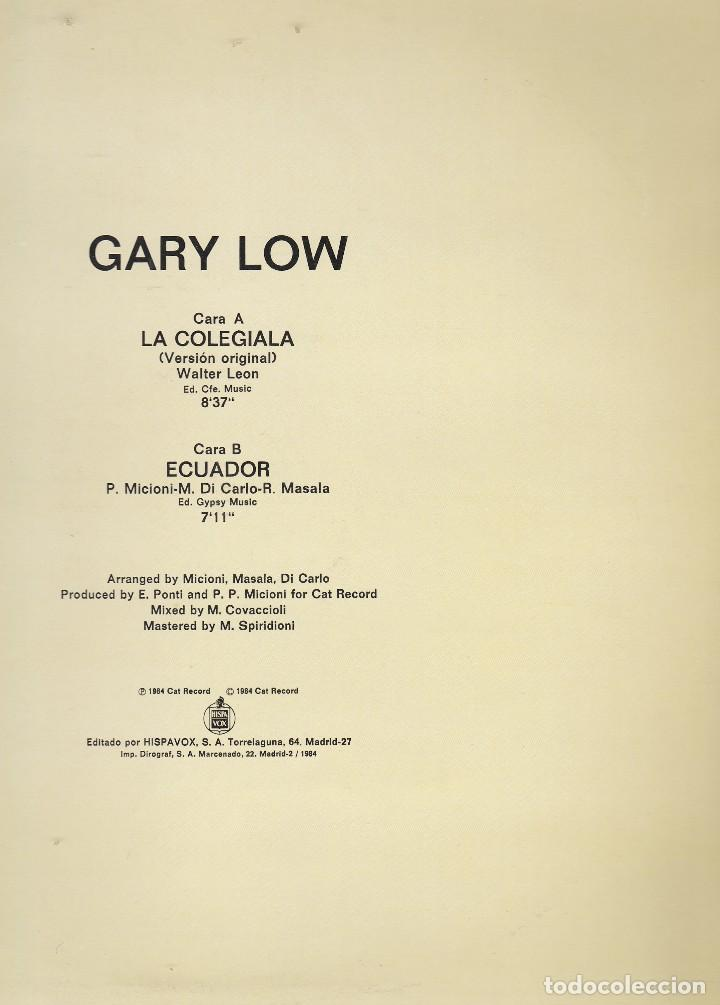 Discos de vinilo: super single. gary low. la colegiala (versión original) 1984 spain (probado buen estado ver fotos) - Foto 2 - 78373381