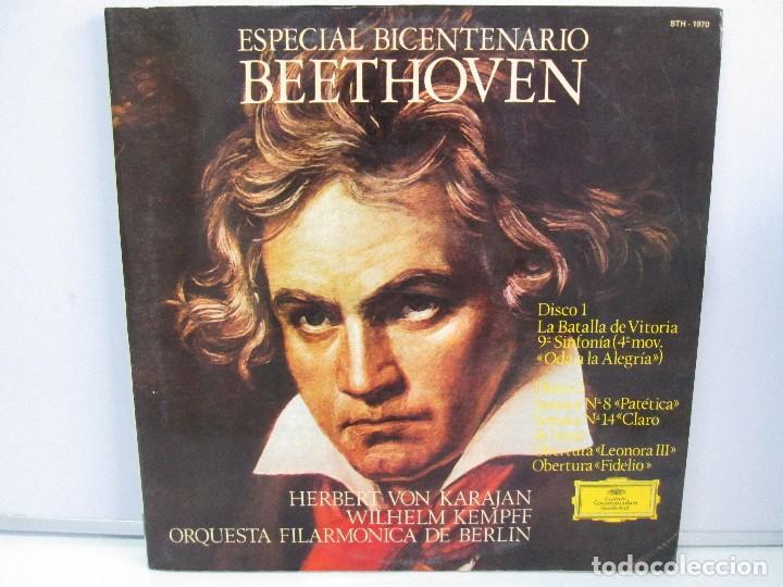 ESPECIAL BICENTENARIO BEETHOVEN. ORQUEST FILARMONICA DE BERLIN.1970 DOS DISCOS DE VINILO.VER FOTOS. (Música - Discos - Singles Vinilo - Clásica, Ópera, Zarzuela y Marchas)
