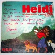 Discos de vinilo: DISCO SINGLE HEIDI - BANDA ORIGINAL DE LA SERIE RTVE CAPITULO 5 RCA AÑO 1975. Lote 78447601