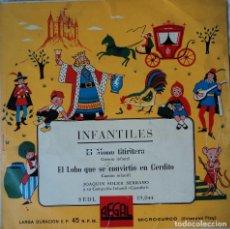Discos de vinilo: EL MONO TITIRITERO / EL LOBO QUE SE CONVIRTIÓ EN CERDITO - EDICIÓN DE ESPAÑA. Lote 78483201