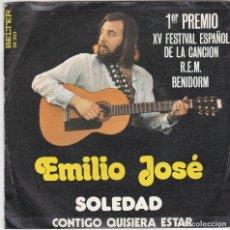 Discos de vinilo: SINGLE EMILIO JOSÉ. SOLEDAD. 1973. SPAIN (DISCO PROBADO Y BIEN, CARÁTULA BUENA). Lote 78946445