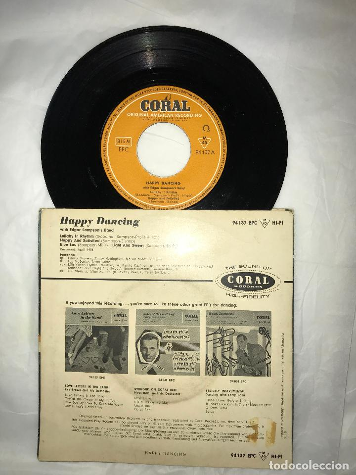 Discos de vinilo: EP HAPPY DANCING WITH EDGAR SAMPSONS BAND - LULLABY IN RHYTHM+3 - CORAL RECORD 1956, GERMANY - Foto 2 - 79060557