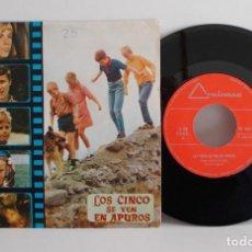 Discos de vinilo: LOS CINCO SE VEN EN APUROS - FAMOUS FIVE GET INTO TROUBLE - OST -ESPAÑA 1972 - ENID BLYTON SINGLE EX. Lote 79113505