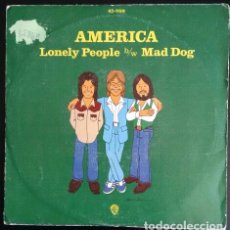 Discos de vinilo: AMERICA. LONELY PEOPLE / MAD DOG. VINILO SINGLE HISPAVOX ESPAÑA. 1975. Lote 79135693