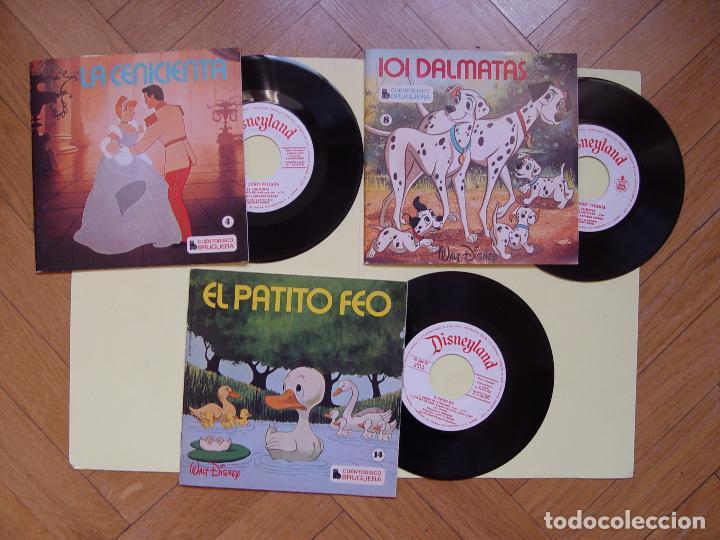 3 CUENTODISCOS: CENICIENTA, 101 DÁLMATAS Y EL PATITO FEO.(WALT DISNEY)BRUGUERA,1967-72.VINILO SINGLE (Música - Discos - Singles Vinilo - Música Infantil)
