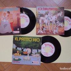 Discos de vinilo: 3 CUENTODISCOS: CENICIENTA, 101 DÁLMATAS Y EL PATITO FEO.(WALT DISNEY)BRUGUERA,1967-72.VINILO SINGLE. Lote 122284372