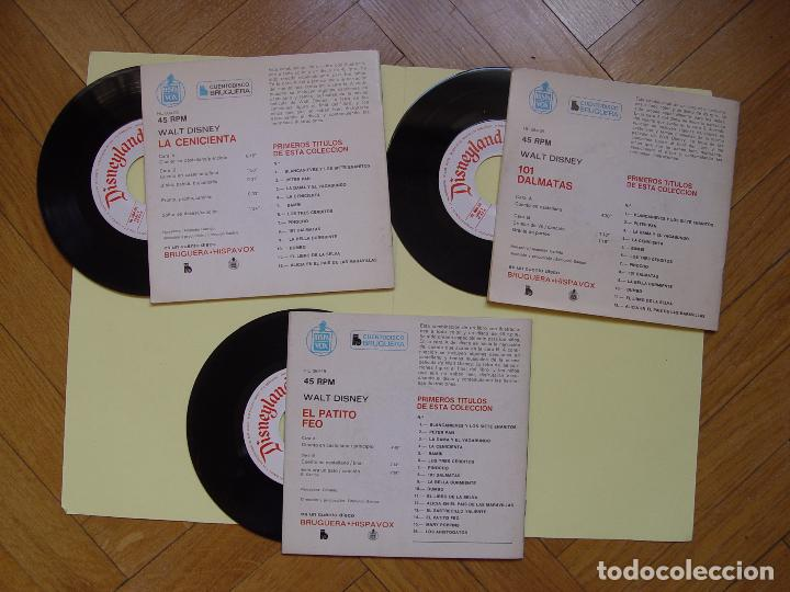 Discos de vinilo: 3 cuentodiscos: Cenicienta, 101 Dálmatas y El patito feo.(Walt Disney)Bruguera,1967-72.Vinilo Single - Foto 2 - 122284372