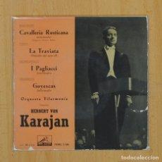 Discos de vinilo: KARAJAN - CAVALLERIA RUSTICANA + 3 - EP. Lote 79293171