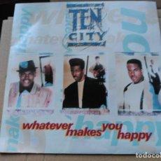 Discos de vinilo: SINGLE TEN CITY - WHATEVER MAKES YOU HAPPY- ATLANTIC UK 1990 VG+. Lote 79352237