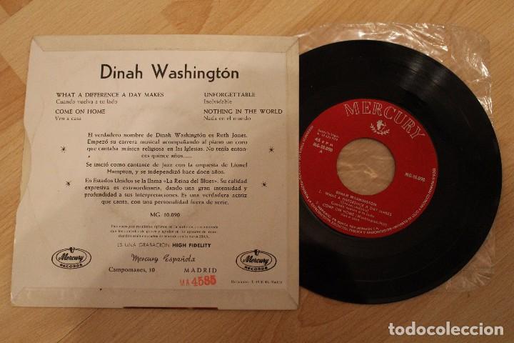 Discos de vinilo: DINAH WASHINGTON WHAT A DIFERENCE A DAY MAKES MERCURY RECORDS 1959 EXCELENTE ESTADO - Foto 2 - 79669041