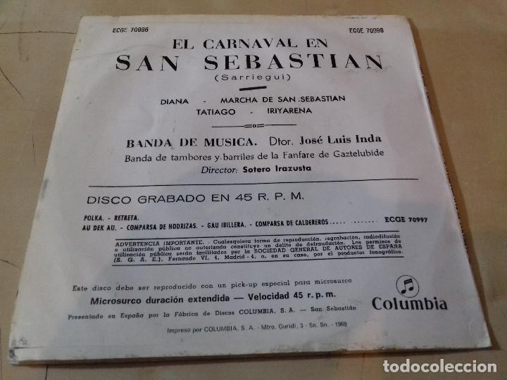 Discos de vinilo: EL CARNAVAL EN SAN SEBASTIAN (SARRIEGUI) BANDA DE MUSICA (JOSE LUIS INDA) SINGLE COLUMBIA - Foto 3 - 79797901