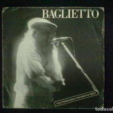 Discos de vinilo: BAGLIETTO LA MUSICA ME AYUDA + MIRTA, DE REGRESO PROMOCIONAL. Lote 79876797