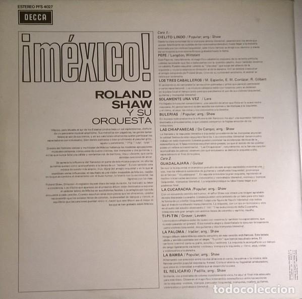 Discos de vinilo: Roland Shaw Y Su Orquesta - ¡México!, Decca - PFS 4027 - Foto 2 - 79914085