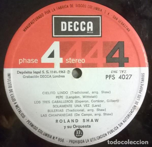 Discos de vinilo: Roland Shaw Y Su Orquesta-¡México!, Decca-PFS 4027 - Foto 3 - 79914201