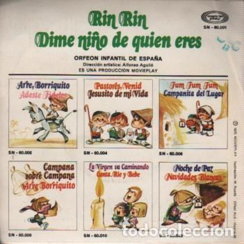 Discos de vinilo: single de movieplay SN 60001 - RIN RINN Y DIME NIÑO DE QUIEN ERES ORFEON INFANTIL DE ESPAÑA - Foto 2 - 80217801