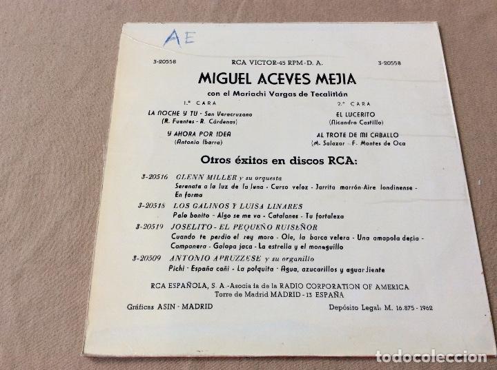 Discos de vinilo: Miguel Aceves Mejia Con El Mariachi Vargas De Tecalitlan. La Noche Y Tú y 3 Mas. RCA 1962 - Foto 2 - 80345925