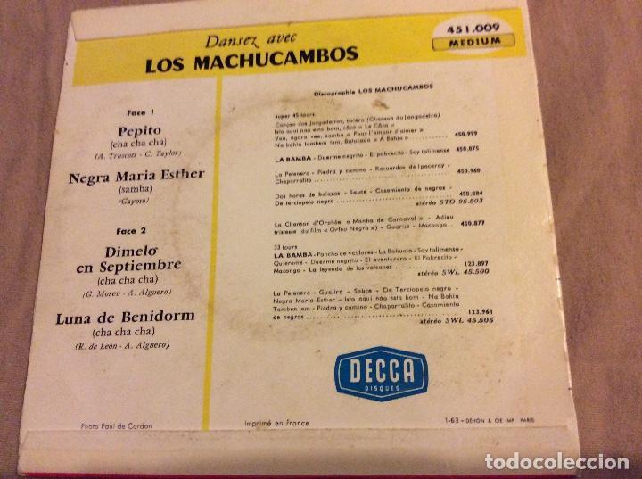 Discos de vinilo: LOS MACHUCAMBOS, PEPITO. NEGRA MARIA ESTHER. Dímelo en septiembre. LUNA DE BENIDORM - Foto 2 - 80405053