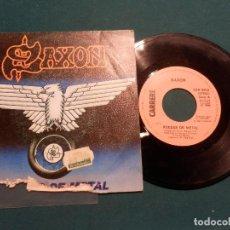 Disques de vinyle: SAXON - WHEELS OF STEEL (RUEDAS DE METAL) CARRERE/CBS 1980 - SINGLE VINILO. Lote 137470682