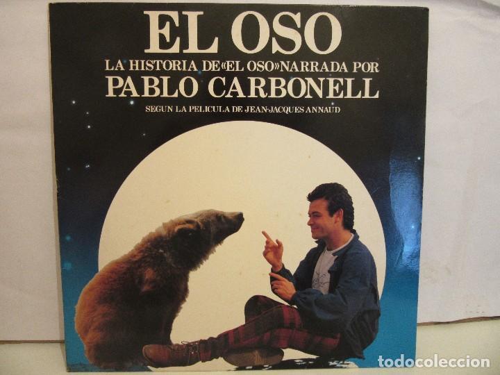 EL OSO - NARRADO POR PABLO CARBONELL - JEAN JACQUES ANNAUD - ENCARTE - 1989 - VG+/VG+ (Música - Discos - LP Vinilo - Bandas Sonoras y Música de Actores )