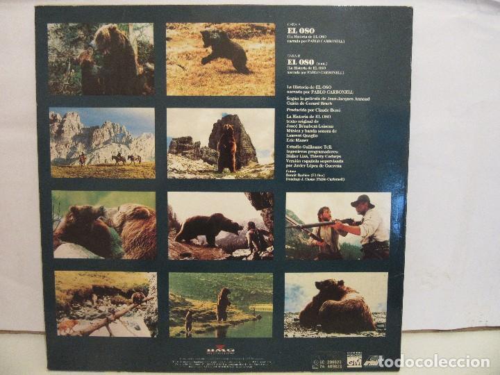 Discos de vinilo: El Oso - Narrado Por Pablo Carbonell - Jean Jacques Annaud - Encarte - 1989 - VG+/VG+ - Foto 2 - 80733002