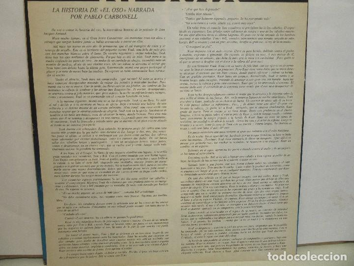 Discos de vinilo: El Oso - Narrado Por Pablo Carbonell - Jean Jacques Annaud - Encarte - 1989 - VG+/VG+ - Foto 3 - 80733002